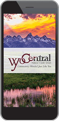 Wyo Central FCU Mobile App on phone